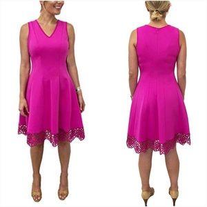 Donna Rico Pink Crochet Hem V Neck Dress NWT